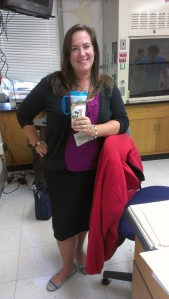 Mrs. Heckman poses with one of her trusty Disney portable coffee mug