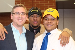 Athletic Director Matt Weber, Raekwon Jenkins, Kameron Keeling